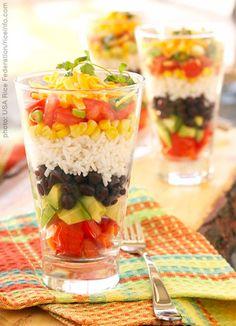 Layered fiesta rice salad
