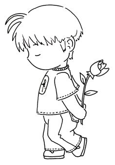 Little Boy With Rose by Sliekje Digi Stamps - Coloring Page/Line Art Drawing/B&W Image