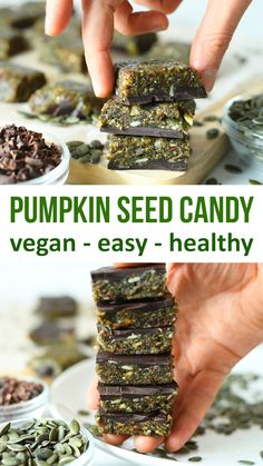Healthy Snacks 3 Ingredient pumpkin seed chocolate candy is yummy, crunchy goodness. It is an easy to make healthy treat made from pumpkin seeds, fruit and dark chocolate. Use a very dark chocolate that's high in cacao for health benefits. Easy Candy Recipes, Healthy Recipes, Raw Food Recipes, Gourmet Recipes, Cooking Recipes, Recipes With Dates Healthy, Desserts With Dates, Diet Recipes, Vegan Recipes Videos