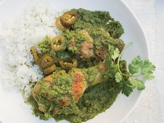 Braised Chicken with Cilantro, Mint & Chiles