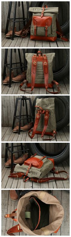 Handcrafted Army Green Waxed Canvas Leather Travel Backpack School Backpack  Hiking Rucksack NZ11 d59e10a55e