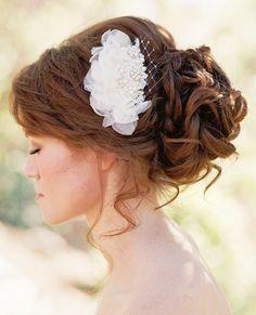 Bride's loose curly chignon bun bridal bridal hair Toni Kami Wedding Hairstyles ♥ ❷ Wedding hairstyle ideas ginger  ...CF