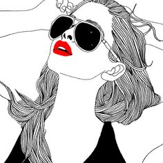 Hajin Bae #Illustration, #woman, love the red lips, the posture and the graphic hair