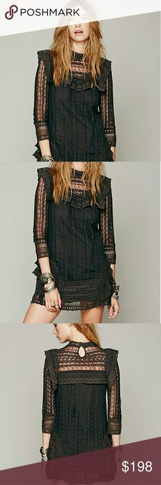 Free people victorian lace dress Rare Free people long sleeve lace dress.  Great condition. Black combo looks like a faded gray/Brown in person just like in the stock photos. Fits true to size.  No trades thanks! free people Dresses