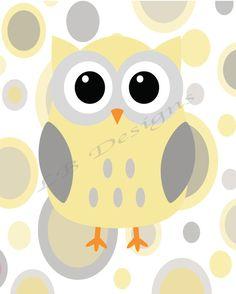 Gray and Yellow Owl Nursery Print - 8x10. $8.00, via Etsy.
