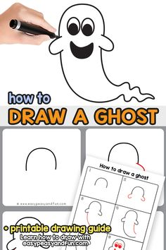 How to Draw a Ghost Step by Step Ghost Drawing Tutorial (easy) Halloween Crafts For Kids, Crafts For Kids To Make, Craft Activities For Kids, Halloween Themes, Halloween 2017, Easy Halloween, Craft Ideas, Art Lessons For Kids, Art For Kids