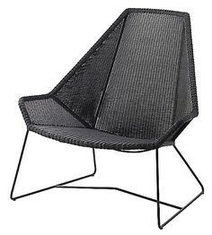 The tall Cane-line Breeze Highback Chair is an elegantly elongated version of the original Breeze Lounge Chair. Like the other pieces in the Breeze collection, the seat is hand-woven using proprietary Cane-line Weave, an all-weather wicker made out of durable, UV- and water-resistant yarns of polyethylene. The seat color is complemented by the powder coated wire frame.