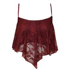 Dark Red Lace Spaghetti Straps Asymmetrical Hem Camisole (155 SEK) ❤ liked on Polyvore featuring tops, shirts, crop tops, tank tops, cami crop top, red cami top, cropped cami, long camisole and spaghetti strap crop top
