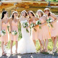 Peach colored bridesmaid dresses