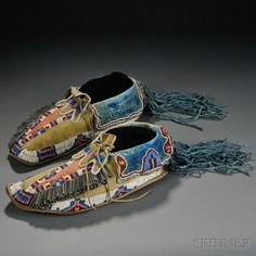 Kiowa Beaded Hide Man's Moccasins | Sale Number 2636B, Lot Number 63 | Skinner Auctioneers