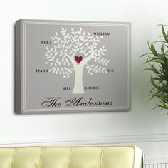 Personalized Traditional Contemporary Family Tree Canvas Print