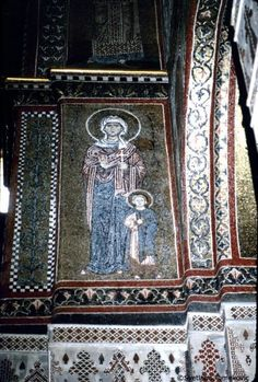 Country: Italy Site: Monreale: Cathedral  Mosaic, North Transept, South Wall, showing Julitta and Cyricus of Tarsus