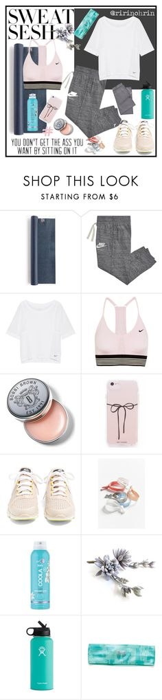 """sweat sesh"" by rindularas on Polyvore featuring J.Crew, NIKE, Ryu, Bobbi Brown Cosmetics, adidas, Urban Outfitters, COOLA Suncare, Hydro Flask, Under Armour and sweatsesh"