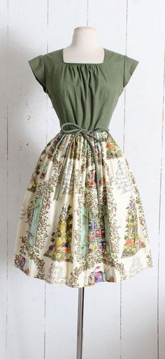 Vintage 1950s Dress vintage 50s Swirl cotton dress jelly