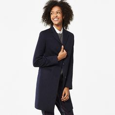 Navy Pinstripe Wool Cashmere Duster Coat UNIQLO