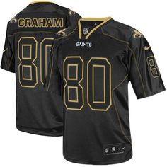 3926e58cf0a Elite Mens Nike New Orleans Saints  80 Jimmy Graham Lights Out Black NFL  Jersey  129.99