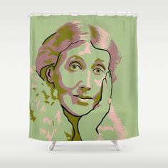Green shower curtain with portrait of Virginia Woolf.