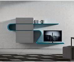 Extravagante TV Wohnwand Dunkelgrau Fango Petrol/ Extraordinary TV Board Tv  Wohnwand, Wohnen, Wohnzimmer
