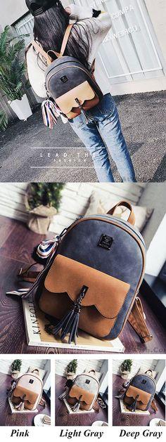 Leisure Tassel Splicing School Backpack Contrast Color Frosted Girl's Backpack for big sale! #school #backpack #college #Leisure #bag #tassel