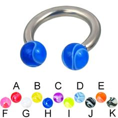 Marble ball titanium circular barbell, 10 ga