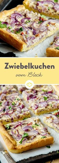 Der Zwiebelkuchen vom Blech präsentiert sich nicht nur in schickem Rot, sondern ist dank Quark-Öl-Teig besonders fix gemacht. Pizza Recipes, Grilling Recipes, Chicken Recipes, Snacks Recipes, Drink Recipes, Finger Foods, Cravings, Healthy Snacks, Healthy Recipes
