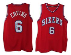 "AAA Sports Memorabilia LLC - Julius Erving Philadelphia 76ers Autographed Red Throwback Jersey Inscribed ""Dr. J"", $337.95 (http://www.aaasportsmemorabilia.com/nba/julius-erving-philadelphia-76ers-autographed-red-throwback-jersey-inscribed-dr-j/)"