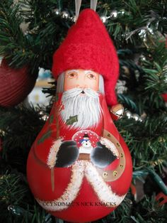 Ornament  Santa with snow globe lightbulb by CyndiMacsNickKnacks, $17.95