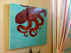 Octopus art and shower curtain