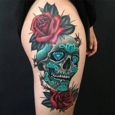 35 Unique Skull Tattoo Designs For Men and Women These trendy Tattoos ideas would gain you amazing compliments. Skull Tattoo Design, Skull Tattoos, Tattoo Designs Men, Leg Tattoos, Body Art Tattoos, Tattoo Thigh, Female Tattoos, Best Tattoos For Women, Trendy Tattoos