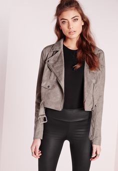 Our love for luxe looking fabrics has reached new levels this season and this figure flattering faux suede biker jacket is ticking all our boxes! In a chic on trend grey, this soft touch beaut is the ultimate transitional piece. With expose...
