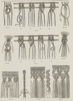 """Patterns of macrame.  From the public domain book """"Complete guide to the work-table : containing instructions in Berlin work, crochet, drawn-thread work, embroidery, knitting, knotting or macrame, lace, netting, poonah painting, & tatting, with numerous illustrations and coloured designs (1884)."""""""
