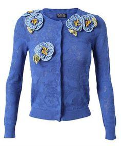 MEADHAM KIRCHHOFF - Floral Crochet Pointelle Cardigan