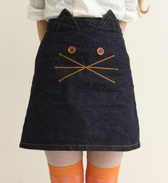 a kitty cat skirt for girls +++ FALDA CARA DE GATO PARA NIÑAS