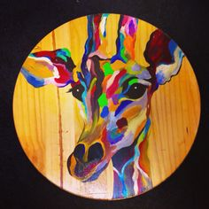 Color Giraffe on Wood by Amy Pursifull Art