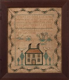 This splendid sampler features an outstandingly folky scene with a house and trees and birds – it was worked in 1808 by Elizabeth Ann Marks. The pictorial elements are at the same time simple and complex; for example the house is depicted frontally and with heavy, outline but the many-mullioned windows, fanlight and checkerboard chimneys with slanting black smoke provide unusual and highly appealing detail.