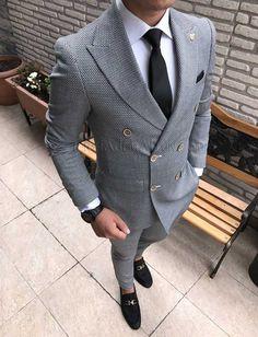 İtalyan kesim erkek ceket pantolon kruvaze takım elbise gri T1711
