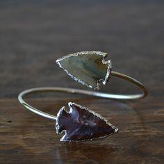 Lux Divine Agate Arrowhead Bracelet /// Silver