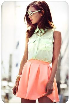 Summer Pastel~   Pastel Mint Sheer Tank with a Pastel Peach High waisted skirt