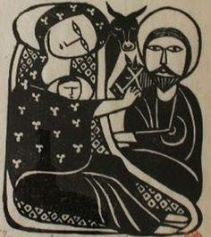 Words Half Heard: The Christmas Miracle, artist Yo Iwashita, Japan Religious Text, Linoprint, Stamp Printing, Sacred Art, Woodblock Print, Printmaking, Arts And Crafts, Design Inspiration, Artist