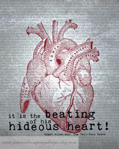 Edgar Allan Poe Art Quote  HIDEOUS HEART  by JaneAndCompanyDesign, $20.00