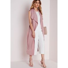 Sleeveless Belted Waterfall Duster Coat Mauve (blush pink) + white or grey top + white culottes/ pants or light grey cropped pants + sandals Nyc Fashion, Work Fashion, Autumn Fashion, Fashion Outfits, Western Outfits, Ärmelloser Mantel, Sleeveless Duster, Sleeveless Blazer Outfit, Fashion Clothes