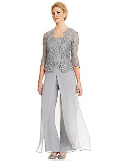 Plus Size Grey Mother of Bride Pant Suits Lace Outfit Formal Evening Party Gowns Mother Of The Bride Suits, Mother Of Groom Dresses, Mothers Dresses, Mother Bride, Mob Dresses, Plus Size Dresses, Nice Dresses, Party Dresses, Wrap Dresses