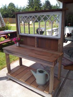rustic potting table | **With Dana's windows!** Fancy Window Rustic Potting Bench Special Window P.B. – Dream Garden ...