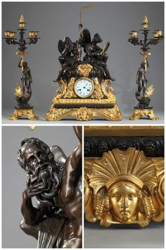 """Exceptional Napoleon III clock """"The Use of Time"""" and pair of five-armed candlesticks."""