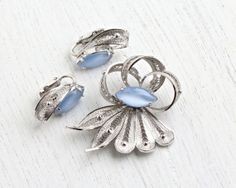 SALE - Vintage Sterling Silver Brooch & Earring Set - Moonstone Blue Glass Stone Alice Caviness Cannetille Filigree Jewelry Demi Parure by Maejean Vintage on Etsy, $64.00