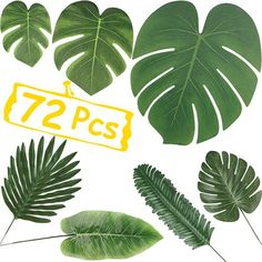 Artificial Palm Leaves Decorations, 72 Pcs Tropical Palm Leaves Such Monstera Leaf, and Banana Leaves for Aloha/Hawaiian/Pool/Jungle/Flamingo/Luau Party Supplies, 7 Kinds Fake Leaves by MoHern Palm Tree Decorations, Luau Theme Party, Hawaiian Party Decorations, Birthday Party Punches, 70th Birthday, Balloon Palm Tree, Artificial Palm Leaves, Luau Party Supplies, Banana Leaves