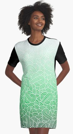 """Ombre green and white swirls zentangle"" Graphic T-shirt Dress by @savousepate on @redbubble #tshirtdress #teeshirtdress #clothing #apparel #pattern #drawing #doodles #zentangle #abstract #ombregreen #green #pastelgreen #emerald #mint #white #irish #stpatricksday #saintpatricksday #gradientgreen"