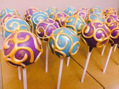 Aladdin Themed Cake Pops   Purple and Blue with Gold swirls Cake Pops