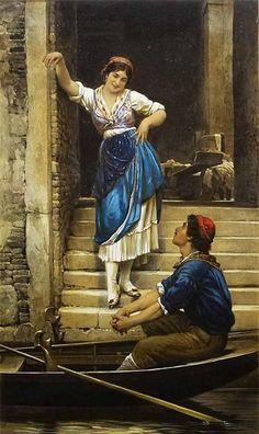 Courtship in Venice by Eugene von Blaas {c.1900's}