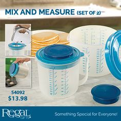MIX AND MEASURE - SET OF 2 - from Regal Gifts A baker's best friend! Each lid has a removable center cap which is perfect for inserting a hand mixer so that you can mix without splatters! Replace cap to store left over batter. Wide pouring spouts make pouring batter into muffin pans, griddle and cake tins a breeze. Includes set of 2 bowls with lids. Large bowl holds 9 cups, small 5-1/2 cups. Dishwasher safe plastic. Product Number: 54092 http://www.Regal.ca